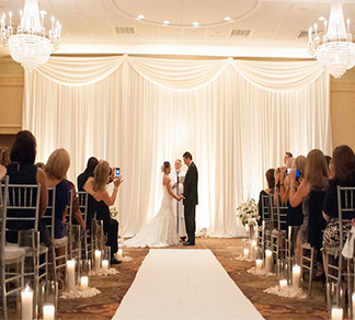 Wedding Ceremony Custom Backdrop Draping Pipe Drape Swags in New Jersey NYC York Maryland Baltimore Virginia Washington DC from FM Event Productions