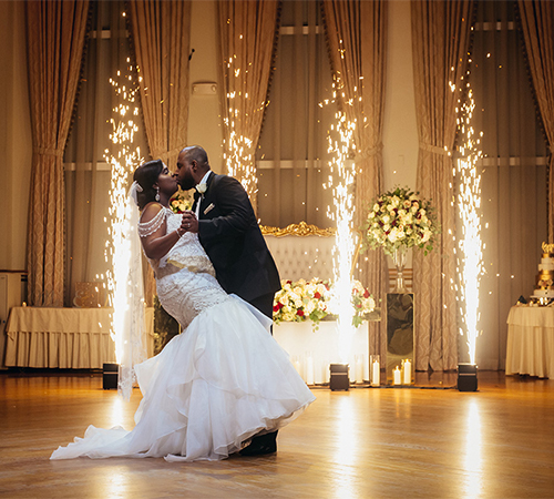 Wedding First Dance Indoor Cold Sparklers Fountain Sparkular Fireworks in New Jersey NYC York Maryland Virginia Washington DC from FM Event Productions